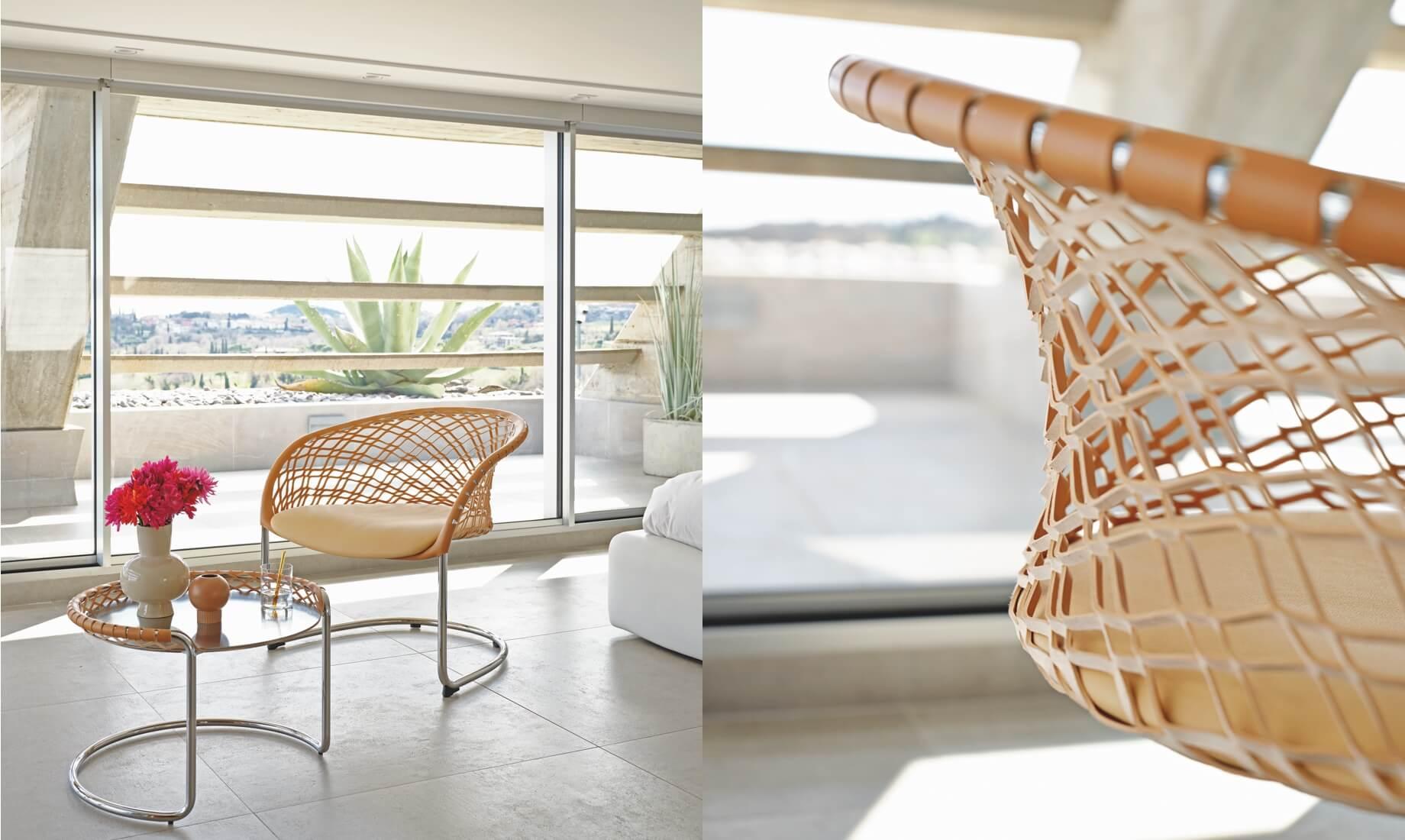 Seduta lounge e coffee table P47, design Franco Poli.