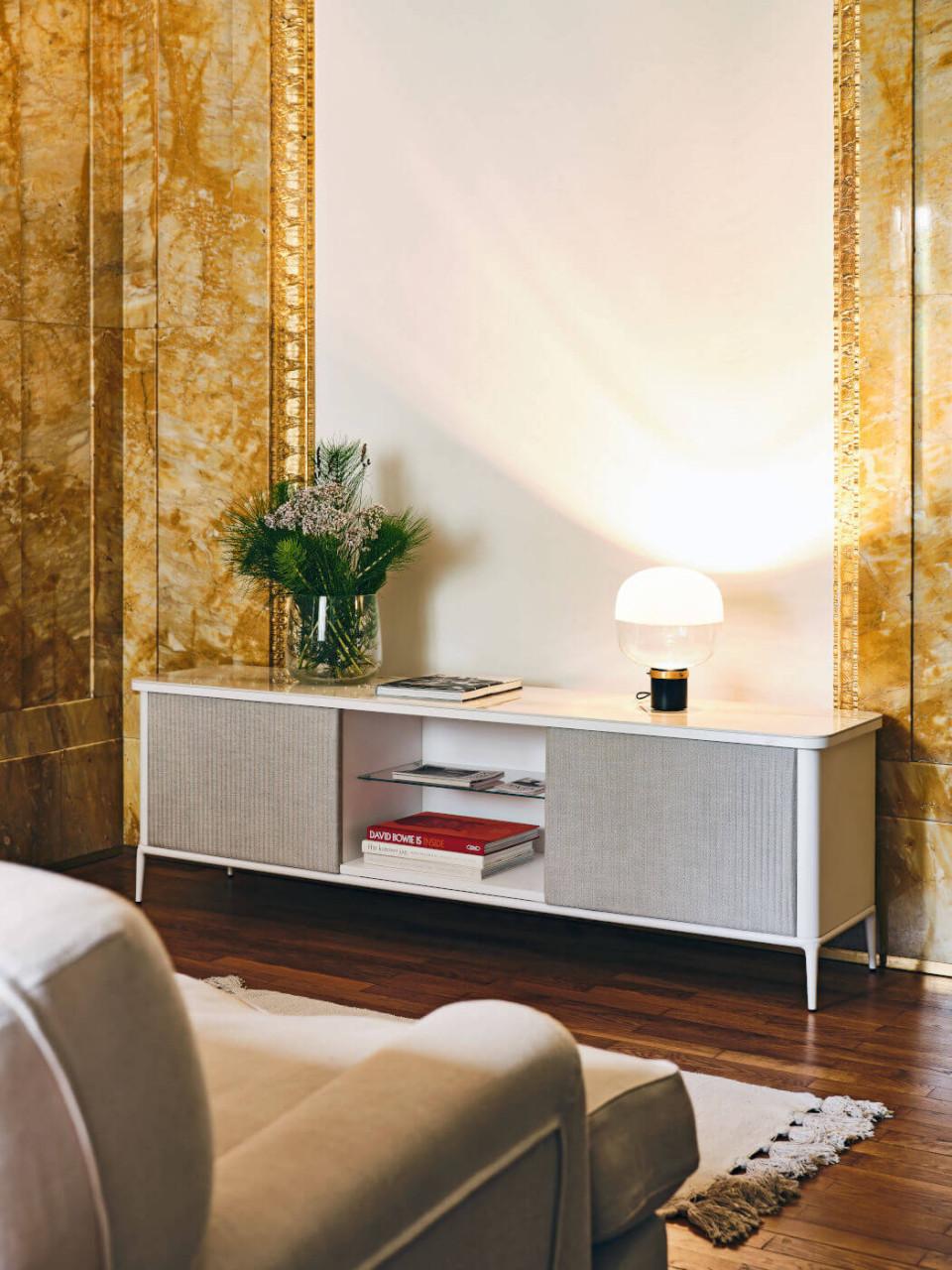 Meuble de rangement en bois blanc Lea