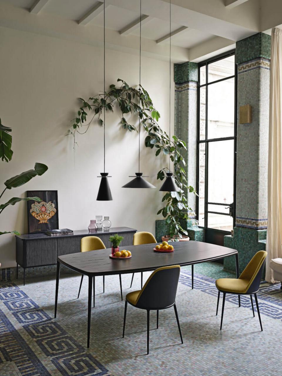 Tavolo Lea 190x115 con piano in legno nero