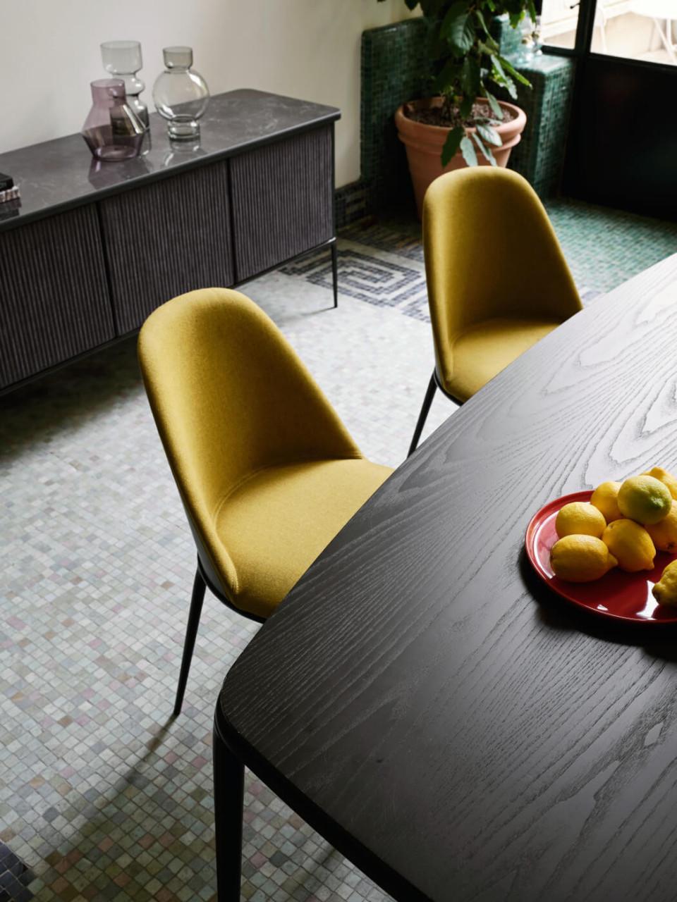PIano in legno nero del tavolo Lea