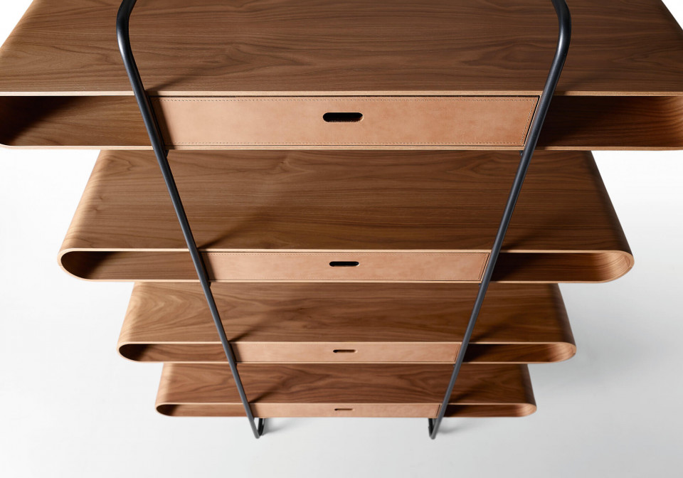 Detail of Apelle wooden bookcase