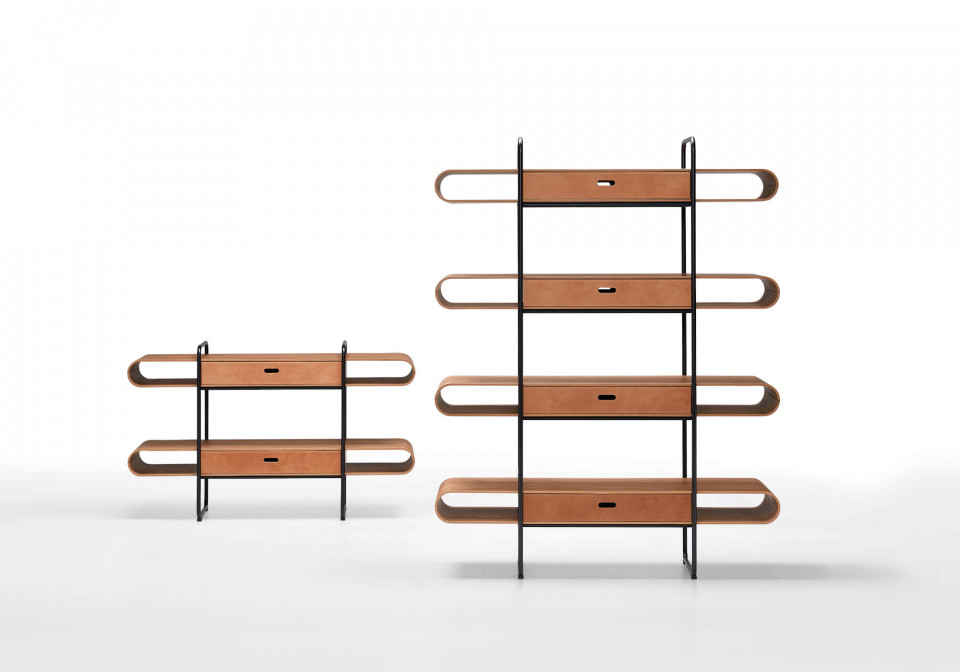 Apelle floor bookcase with two and four shelves