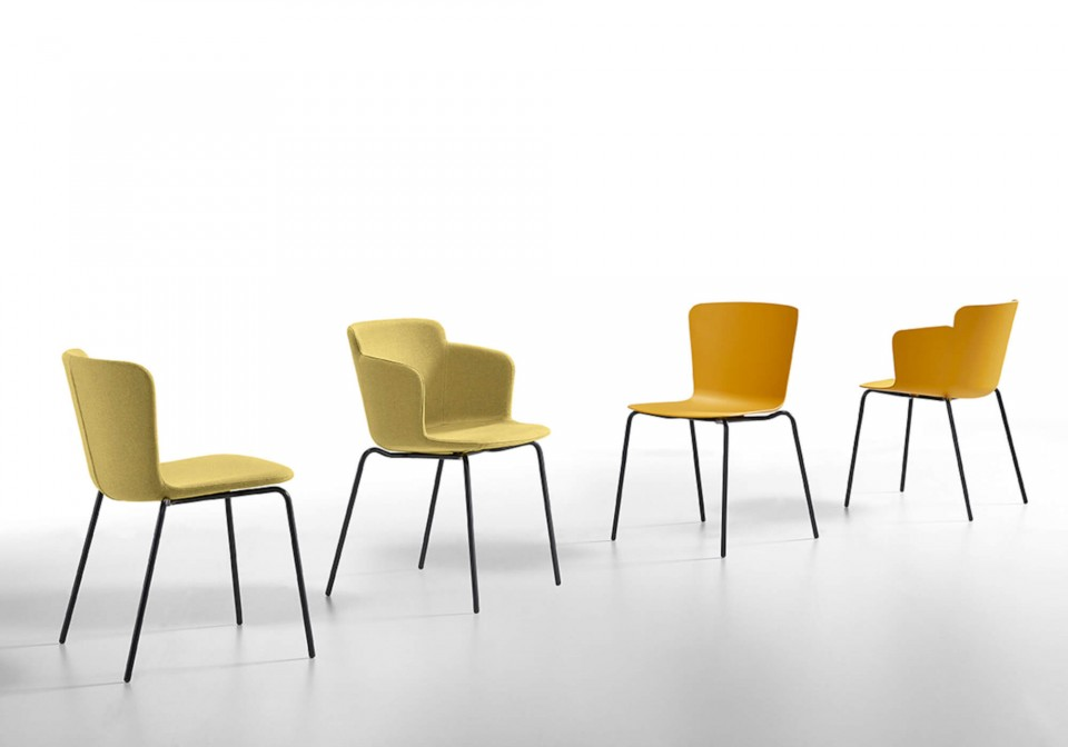 Calla chair with black finish metal frame and ocher colored polypropylene seat