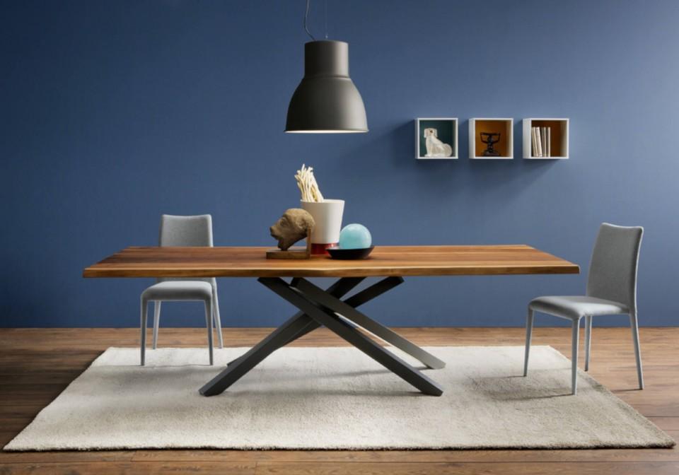 Chaise de table King avec base et assise rembourrée en tissu gris