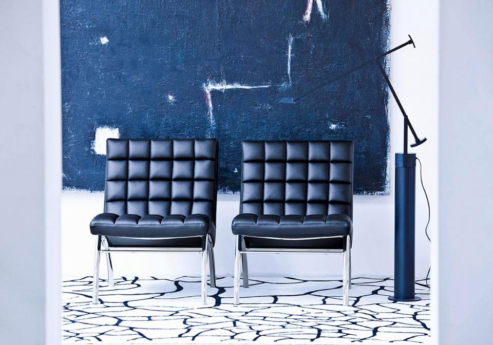 Sedia per sala d'attesa Marsiglia con seduta in pelle nera