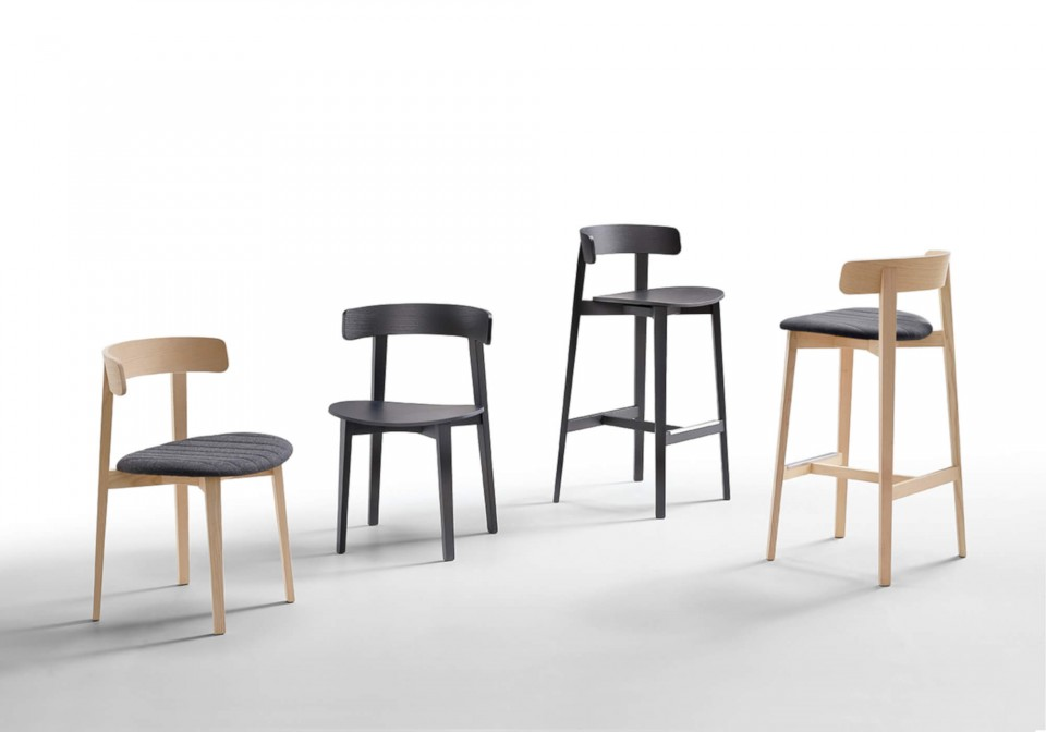 Maya wooden chair with seat upholstered in black fabric