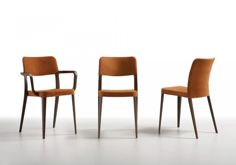 Nenè armchair in brown polypropylene, with optional seat and fabric base