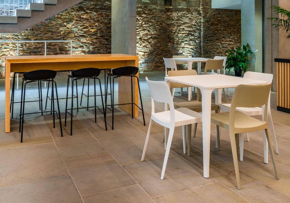 Nene square table with white metal legs and white HPL top