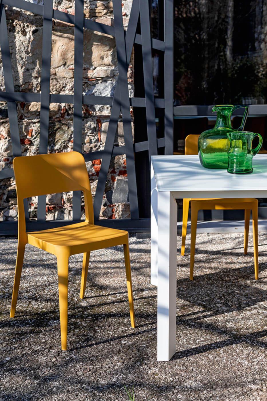 Nenè outdoor chair made of ocher polypropylene
