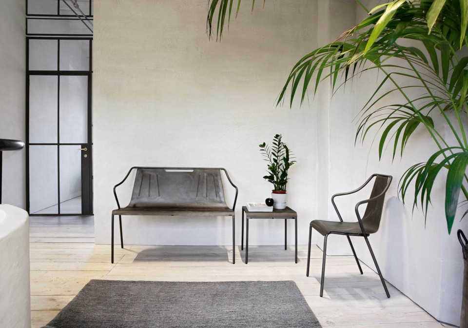 Ola indoor bench in steel with industrial effect