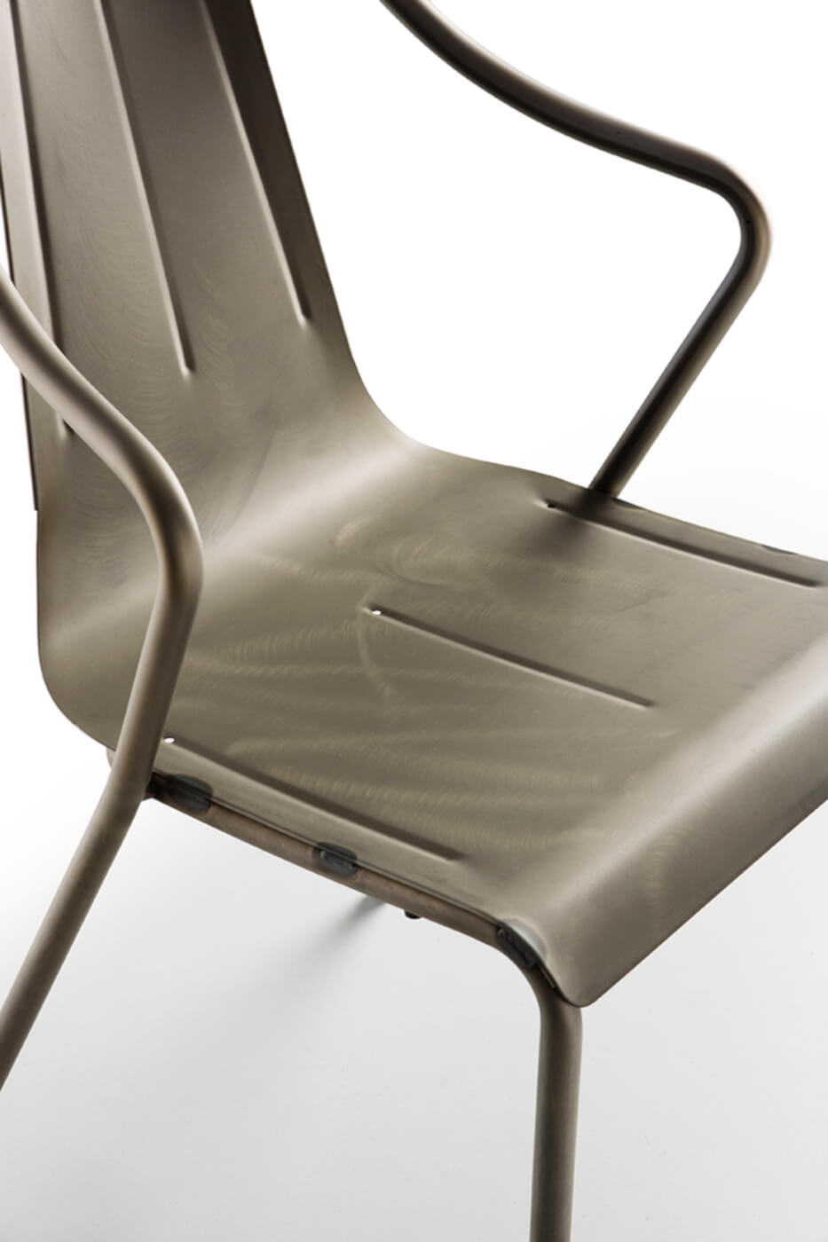 Detail of Ola armchair in industrial steel effect