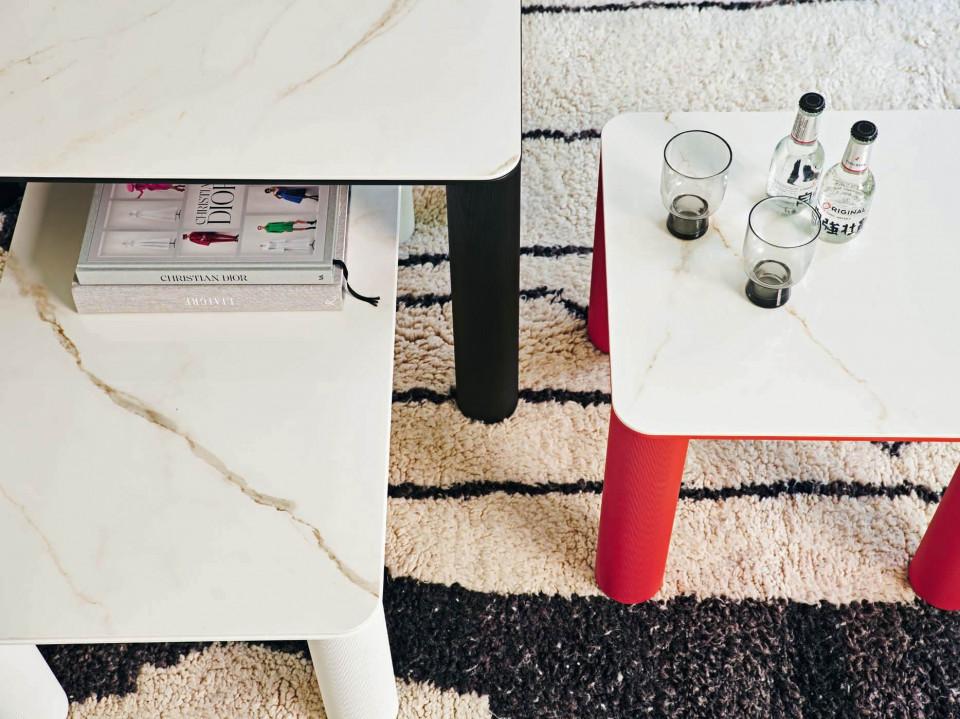 Tables basses Paw avec plateaux en ceramique effect marbre