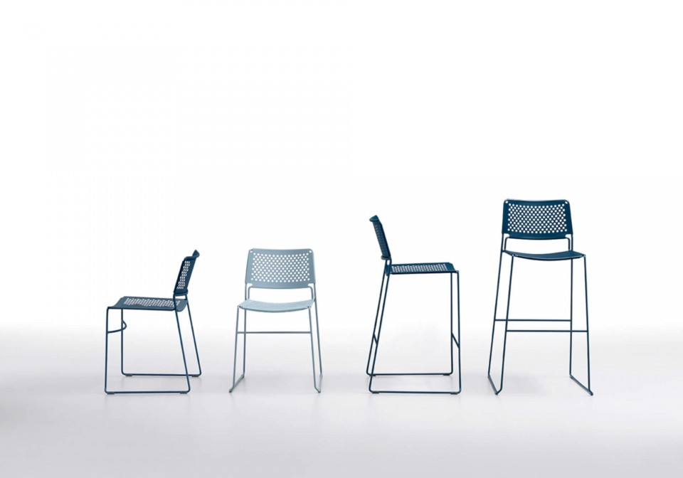 Slim stool with blue metal seat