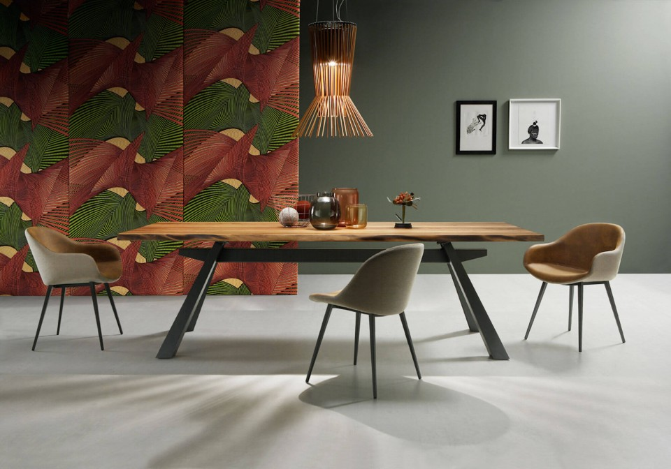Sonny table chair with metal base and brown leather seat