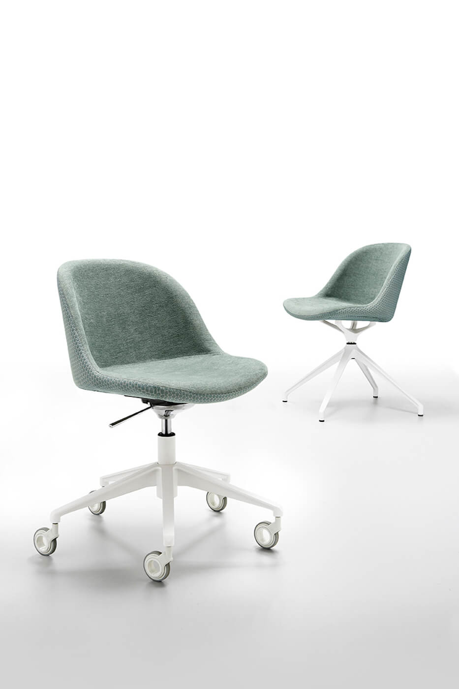 Sonny swivel chair with white metal frame and green fabric seat
