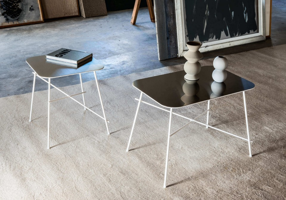 Set di due coffee table Walter in versione rettangolare e quadrata