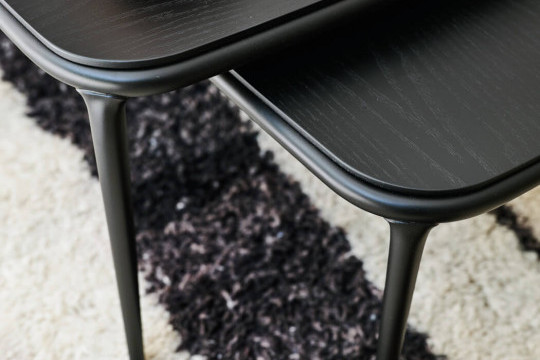 Detail of black wooden top of Lea coffe tables