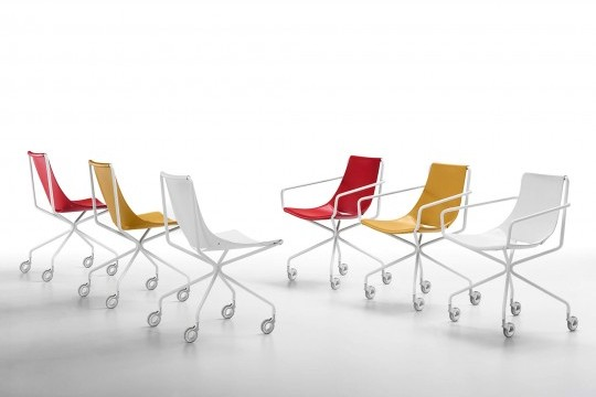 Apelle chair with wheels with white metal legs and seat in red, yellow and white hide
