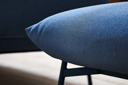 Area pouf with blue fabric