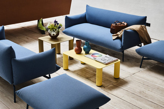 Area two-seat sofa in blue fabric
