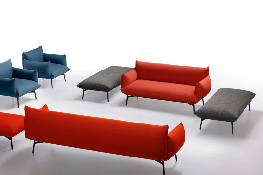 Area two-seat sofa in red fabric
