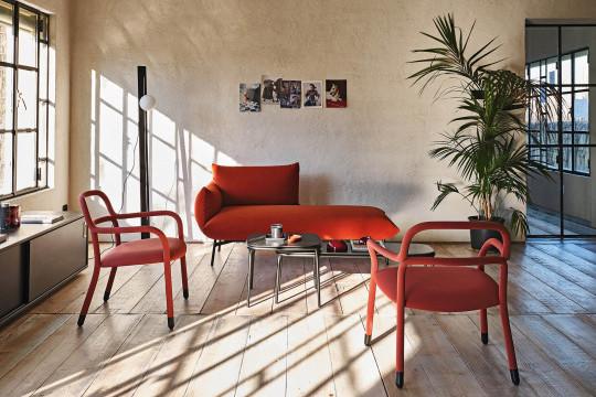 Chaise longue Area in tessuto rosso