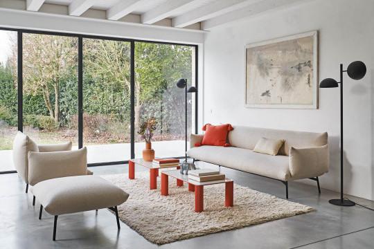 Three-seats Area sofa in white fabric