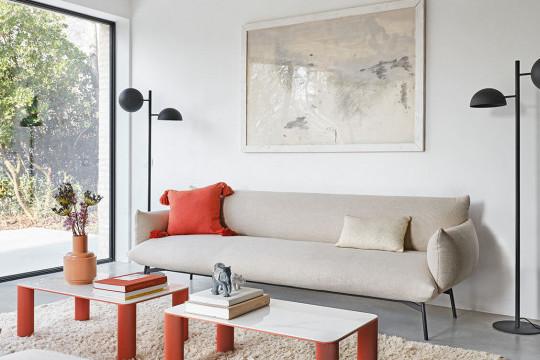 Three-seats Area sofa in beige fabric