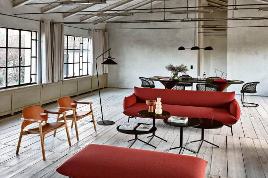 Three-seats Area sofa in red fabric