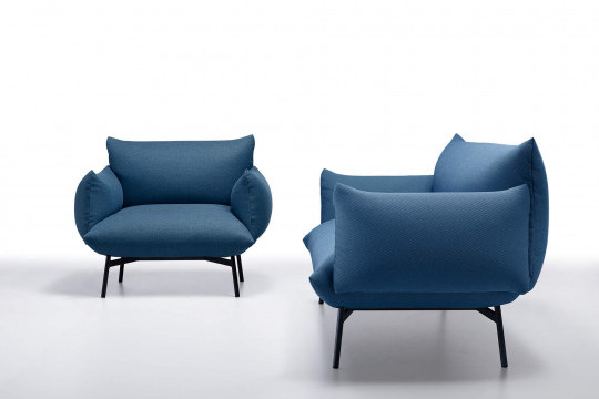 Area armchair in blue fabric