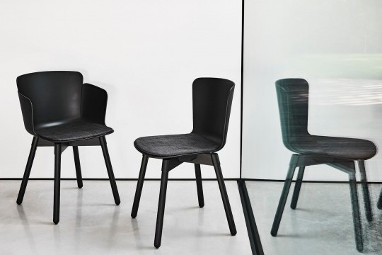 Calla design armchair with wooden frame and black polypropylene seat