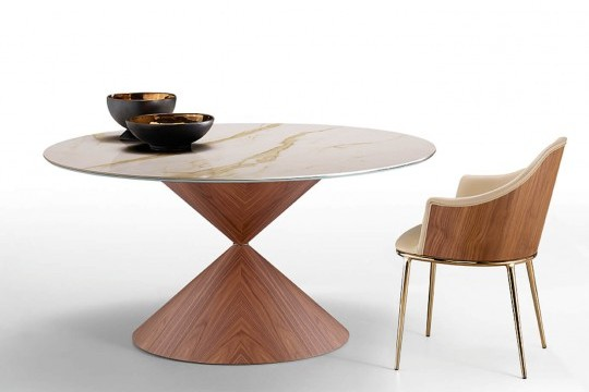 Round table Clessidra with wooden base in flamed walnut finish and crystalceramic top