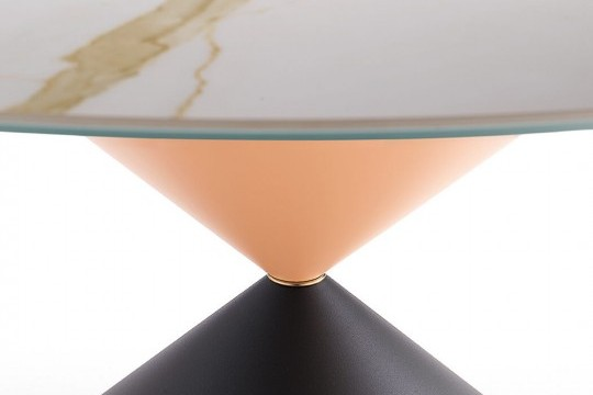 Round table 150 cm diameter Clessidra with metal base in graphite and rose finish with metallic insert in rose gold finish, crystalceramic top