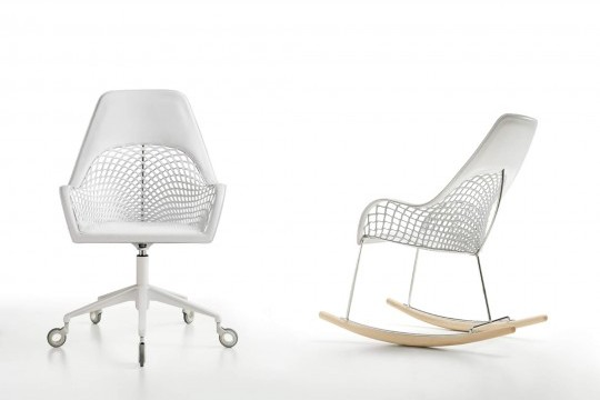 Guapa rocking chair with high back in white hide and metal structure