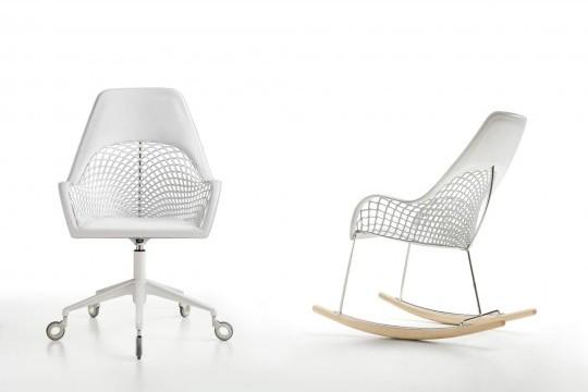 Guapa rocking chair avec dossier haut en cuir blanc et structure en métal