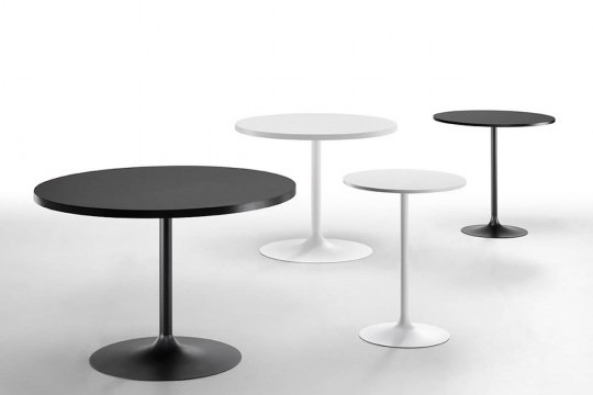 Infinity table white and black in various sizes with wooden tops