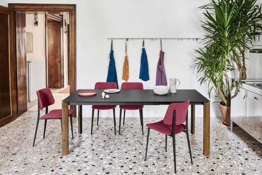 Joe table chair with fabric seat and black metal base