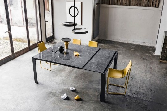 Marcopolo extendable square table with four-leg base in black metal, top and extensions in crystalceramic with black Greek marble effect
