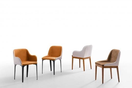 Marilyn fauteuil avec structure en bois et assise en tissu marron