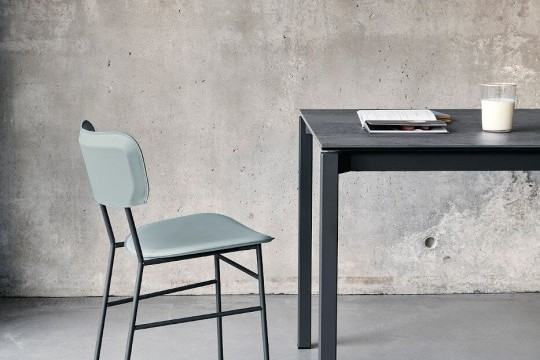 Master table chair with blue hide seat and metal structure