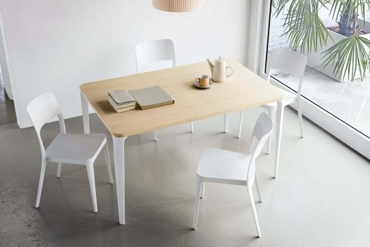 Nenè kitchen table 140x90 cm with white steel legs and melamine top with wood effect