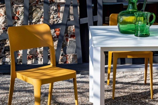 Nenè outdoor chair made of ocher polypropylene