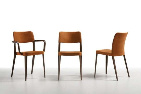 Nenè stackable design chair, made of brown polypropylene