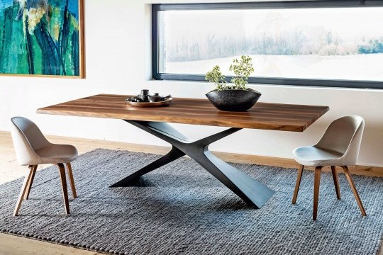 Nexus table with baydur base and solid walnut top with bark border