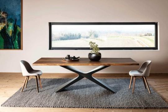 Table Nexus avec base baydur et plateau en noyer massif avec bord en écorce