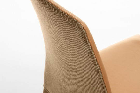 Nuvola chair detail with backrest in orange fabric