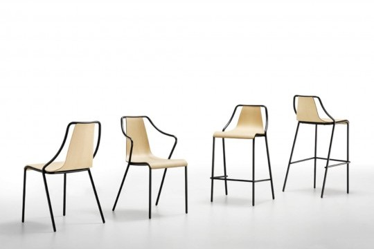 Ola chair, stackable up to four wooden units, with metal frame