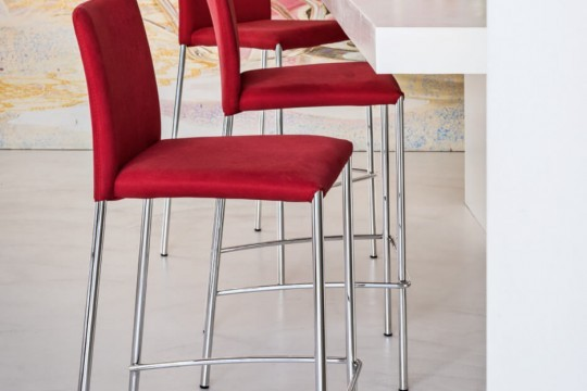 Silvy high stool with red fabric seat and metal base