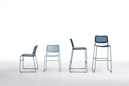 Slim chair entirely made of blue metal