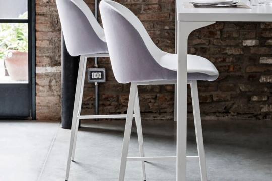 Sonny stool with back shell in gray fabric and seat in white leather